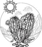 Paysage du désert en cercle Cactus fleurissant tiré par la main Photos stock