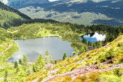 Paysage du lac Colbricon, trentino - Italie Images stock