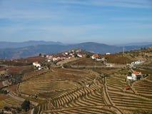 Paysage du nord du Portugal avec des montagnes et des vignobles image stock