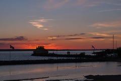 Paysage du port de Gränna en Suède Image stock