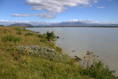 Paysage du sud de l'Islande avec une rivière Thjorsa Images libres de droits