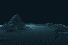 paysage du vecteur 3D Le paysage numérique abstrait avec des particules pointille et se tient le premier rôle sur l'horizon Fond  Image stock