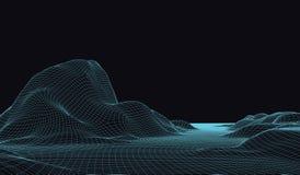 paysage du vecteur 3D Le paysage numérique abstrait avec des particules pointille et se tient le premier rôle sur l'horizon Fond  Photos libres de droits