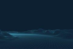 paysage du vecteur 3D Le paysage numérique abstrait avec des particules pointille et se tient le premier rôle sur l'horizon Fond  Images libres de droits