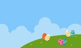 Paysage du vecteur de thème de Pâques plat Image libre de droits