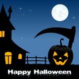 Paysage effrayant de Halloween avec la pleine lune Images libres de droits