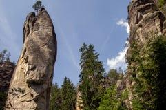 Paysage en nature de ressortissant d'Adrspach-Teplice de formations de roche Photographie stock libre de droits