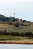 Paysage et phare Dornbusch à l'île de Hiddensee, Allemagne photo libre de droits