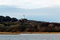 Paysage et phare Dornbusch à l'île de Hiddensee, Allemagne image libre de droits