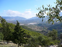 Paysage et village Image stock