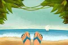 Paysage exotique de panorama avec les pieds masculins dans des pantoufles Photo stock