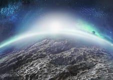 Paysage extraterrestre de planète glaciale éloignée avec des nébuleuses Images stock