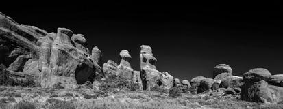 Paysage fantasmagorique de parc national de voûtes en noir et blanc Photographie stock libre de droits