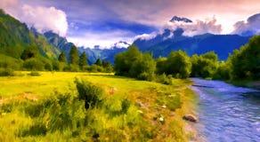 Paysage fantastique avec une rivière bleue dans les montagnes Photographie stock libre de droits