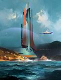Paysage fantastique peint avec un bâtiment futuriste et un vaisseau spatial illustration de vecteur