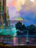 Paysage fantastique peint avec un voilier illustration libre de droits