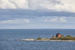 Paysage finlandais de littoral avec des îles Mer baltique Voûte d'Aland Image libre de droits