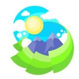 Paysage Forest Park de Sun d'herbe verte de montagne Photographie stock