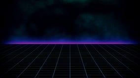 Paysage futuriste de fond de la science fiction rétro des années 80 illustration libre de droits