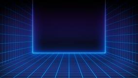 Paysage futuriste de r?tro fond de la science fiction des ann?es 80 Surface de Cyber de Digital illustration libre de droits