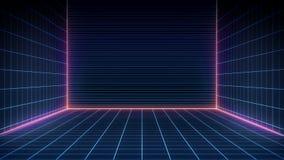 Paysage futuriste de r?tro fond de la science fiction des ann?es 80 Surface de Cyber de Digital illustration de vecteur