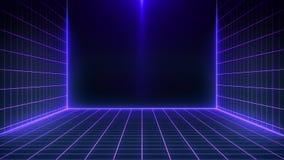 Paysage futuriste de r?tro fond de la science fiction des ann?es 80 Surface de Cyber de Digital illustration stock