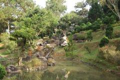 Paysage gentil avec le lac dans la forêt photos stock