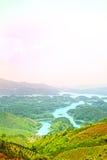 Paysage gentil, colline/moutain, lac image stock