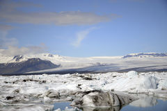 Paysage glaciaire Vatnajokull de neige de nature de lagune de Jokulsarlon de lac de glacier de l'Islande Photos libres de droits
