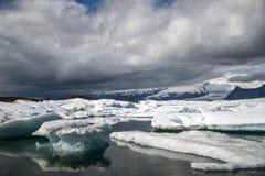 Paysage glaciaire Vatnajokull 5 de neige de nature de lagune de Jokulsarlon de lac de glacier de l'Islande Photographie stock libre de droits