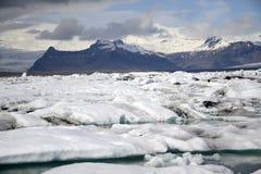 Paysage glaciaire Vatnajokull 4 de neige de nature de lagune de Jokulsarlon de lac de glacier de l'Islande Images stock