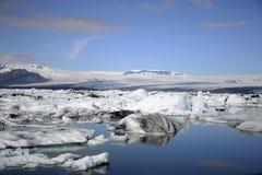 Paysage glaciaire Vatnajokull 3 de neige de nature de lagune de Jokulsarlon de lac de glacier de l'Islande Photos stock