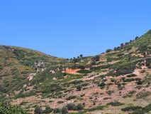 Paysage grec rocailleux d'île Images stock