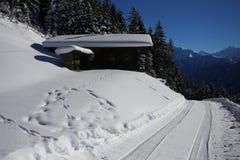 Paysage hivernal de montagne avec le soleil Photos stock