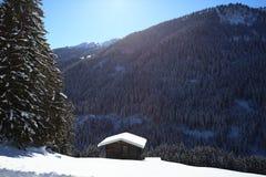 Paysage hivernal de montagne avec le soleil Photo stock