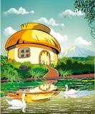Paysage - hutte à l'étang avec des cygnes Photo stock