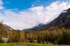 Paysage incroyable du secteur de steppe avec des lacs et des arbres se transformant sans à-coup en montagnes avec les crêtes cour Photo libre de droits