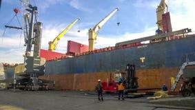 Paysage industriel de l'infrastructure développée de port maritime Mettez en communication les grues et les navires, les entrepôt Images stock