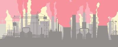 Paysage industriel panoramique de silhouette illustration stock