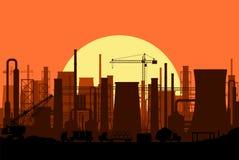 Paysage industriel panoramique de silhouette illustration de vecteur