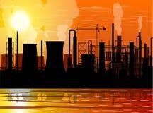 Paysage industriel panoramique de silhouette illustration libre de droits