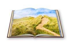 Paysage irlandais sauvage avec des dunes de sable - itinéraire aménagé pour amateurs de la nature à la plage Photos libres de droits