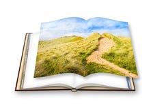 Paysage irlandais sauvage avec des dunes de sable - itinéraire aménagé pour amateurs de la nature à la plage Photographie stock libre de droits