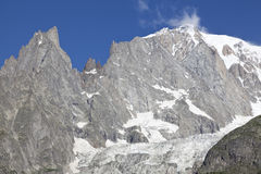 Paysage italien d'été de Mont Blanc de côté Mont Blanc est le sommet le plus élevé des Alpes occidentaux européens Photographie stock libre de droits