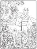 Paysage japonais avec le mont Fuji, la mer, et le kimo japonais de femme illustration libre de droits