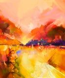 Paysage jaune et rouge coloré abstrait de peinture à l'huile illustration stock