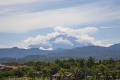 Paysage : Le Mt Kinabalu, nuages, palmiers de Boreneo Photo stock