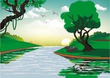 Paysage-lever de soleil au-dessus de la rivière de forêt Photographie stock libre de droits