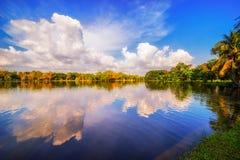 Paysage lumineux d'automne en parc de ville Photographie stock