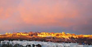Paysage lumineux de coucher du soleil, Tanger, Maroc Photographie stock libre de droits